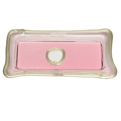 Try-Tray Small Rectangular Tray in Clear Pink, Matt Bronze by Gaetano Pesce