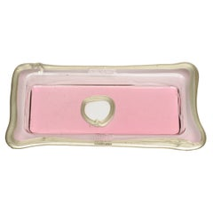Try-Tray Large Rectangular Tray in Clear Pink, Matt Bronze by Gaetano Pesce