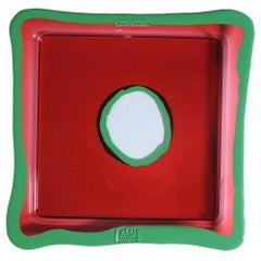 Try-Tray Large Square Tray in Dark Ruby, Matt Light Green by Gaetano Pesce