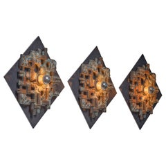 Set of Three of Brutalist Wall Lamps