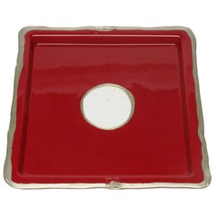 Try-Tray Small Square Tray in Matt Cherry and Bronze by Gaetano Pesce