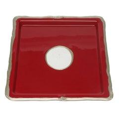 Try-Tray Medium Square Tray in Matt Cherry and Bronze by Gaetano Pesce