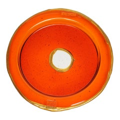 Try-Tray Large Round Tray in Clear Orange, Gold by Gaetano Pesce