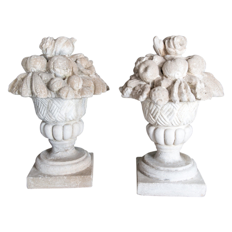 Pair Cast Stone Fruit & Flower Filled Urn Garden Ornaments