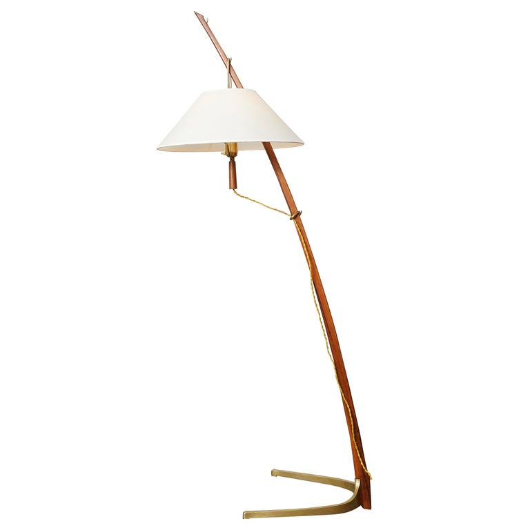 """Dornenstab"" Floor Lamp in Teak and Brass by J.T Kalmar For Sale"