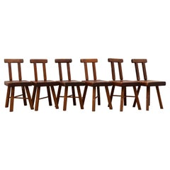 Brutalist Solid Wood Set of Six Chairs 1950s Alpine Chalet Chic