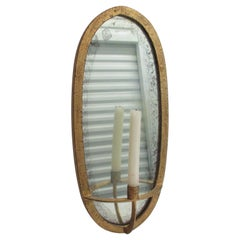 Anthropologie Oval Candle Sconce with Mirrored Back and Antique Gold Finish