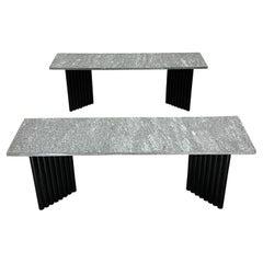 Postmodern Granite and Black Tubular Steel Base Coffee or Side Tables, a Pair