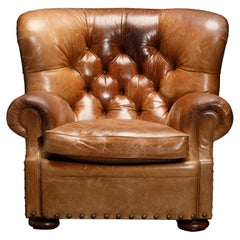 Henredon Heavy Leather Wingback Writer's Club Chair, Signed