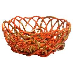 Tutti Frutti II Medium Resin Basket in Matt Orange and Gold by Gaetano Pesce