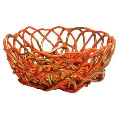 Tutti Frutti II Large Resin Basket in Matt Orange and Gold by Gaetano Pesce