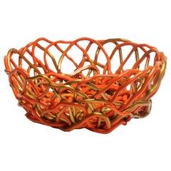 Tutti Frutti II XXL Resin Basket in Matt Orange and Gold by Gaetano Pesce