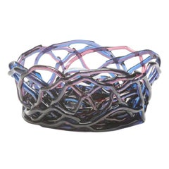 Tutti Frutti II Large Resin Basket in Clear Blue and Fuchsia by Gaetano Pesce