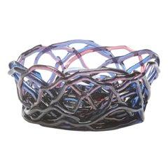 Tutti Frutti II XL Resin Basket in Clear Blue and Fuchsia by Gaetano Pesce