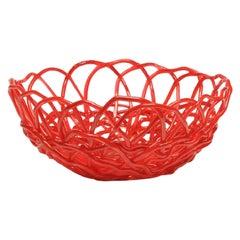 Tutti Frutti II Large Resin Basket in Matt Red by Gaetano Pesce