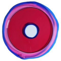 Try-Tray Large Round Tray in Clear Fuchsia, Blue Klein by Gaetano Pesce