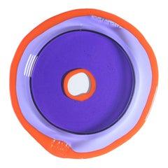 Try-Tray Large Round Tray in Clear Purple, Matt Orange by Gaetano Pesce