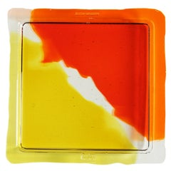 Try-Tray Small Square Tray in Clear Orange, Clear, Clear Yellow by Gaetano Pesce