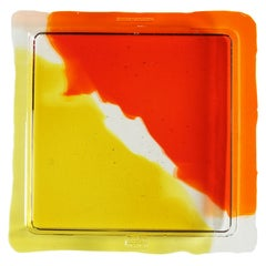 Try-Tray Large Square Tray in Clear Orange, Clear, Clear Yellow by Gaetano Pesce