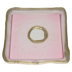 Try-Tray Large Square Tray in Clear Pink and Bronze by Gaetano Pesce