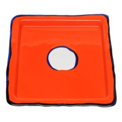 Try-Tray Small Square Tray in Matt Orange and Blue Klein by Gaetano Pesce