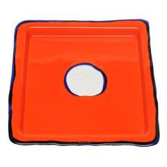 Try-Tray Medium Square Tray in Matt Orange and Blue Klein by Gaetano Pesce