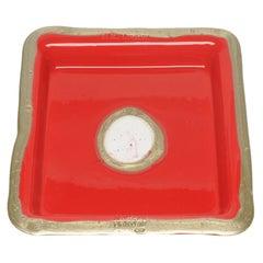 Try-Tray Medium Square Tray in Matt Red, Bronze by Gaetano Pesce