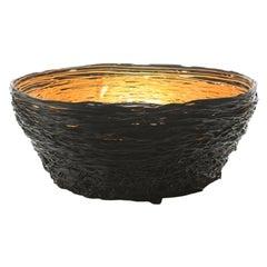 Tutti Frutti I Special Large Resin Basket in Matt Black, Gold by Gaetano Pesce