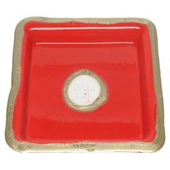 Try-Tray Large Square Tray in Matt Red, Bronze by Gaetano Pesce