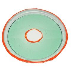 Try-Tray Medium Round Tray in Clear Aqua and Matt Orange by Gaetano Pesce