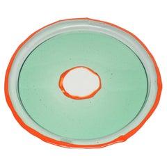 Try-Tray Large Round Tray in Clear Aqua and Matt Orange by Gaetano Pesce