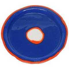 Try-Tray Medium Round Tray in Matt Blue and Orange by Gaetano Pesce