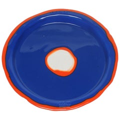 Try-Tray Large Round Tray in Matt Blue and Orange by Gaetano Pesce