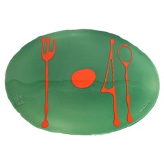Set of 4 Table Mates Placemats Bottle Green and Matt Orange by Gaetano Pesce