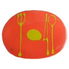 Set of 4 Table Mates Placemats in Dark Ruby and Matt Acid Green by Gaetano Pesce