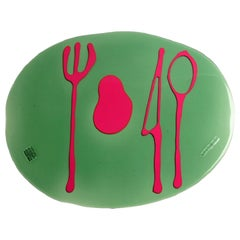 Set of 4 Table Mates Placemats Clear Bottle Green and Fuchsia by Gaetano Pesce