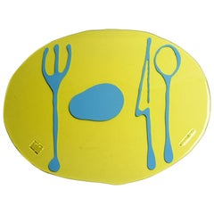 Set of 4 Table Mates Placemats Clear Yellow and Matt Light Blue by Gaetano Pesce