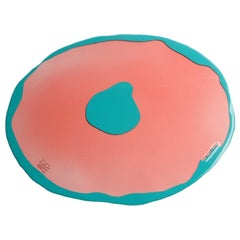 Set of 4 Table Mates Placemats Rose Pink and Matt Turquoise by Gaetano Pesce