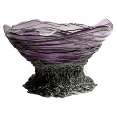 Ogiva XL Resin Basket in Clear Lilac and Silver by Gaetano Pesce