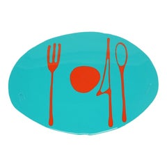 Set of 4 Table Mates Placemats in Matt Turquoise and Orange by Gaetano Pesce
