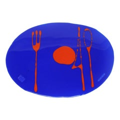 Set of 4 Table Mates Placemats in Blue Klein and Matt Orange by Gaetano Pesce