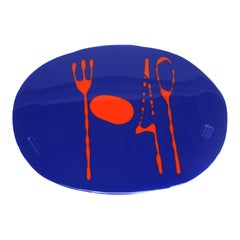 Set of 4 Table Mates Placemats in Matt Blue and Orange by Gaetano Pesce