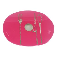 Set of 4 Table Mates Placemats in Clear Fuchsia and Bronze by Gaetano Pesce