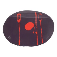 Set of 4 Table Mates Placemats in Matt Purple and Red by Gaetano Pesce