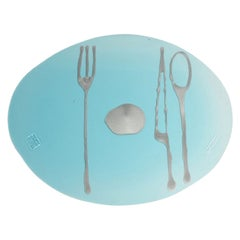 Set of 4 Table Mates Placemats in Clear Aqua and Silver by Gaetano Pesce