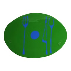 Set of 4 Table Mates Placemats in Matt Grass Green and Blue by Gaetano Pesce