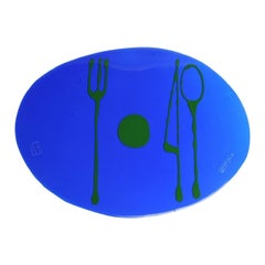 Set of 4 Table Mates Placemats Blue Klein and Matt Grass Green by Gaetano Pesce