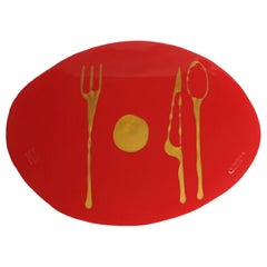 Set of 4 Table Mates Placemats in Matt Red and Gold by Gaetano Pesce