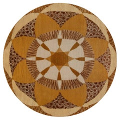 French Art Deco Rug in Shades of Beige, Gold, Brown and Ivory