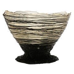 Ogiva Large Resin Basket in Clear and Black by Gaetano Pesce